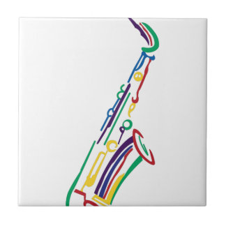 Saxophone Small Square Tile