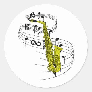 Saxophone Round Stickers