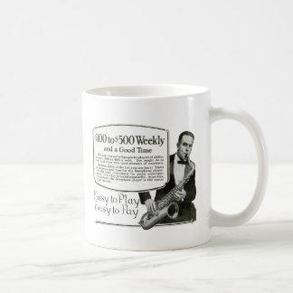 Saxophone Vintage Ad Basic White Mug