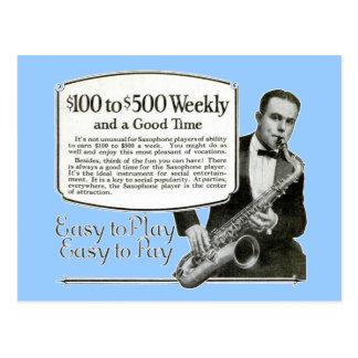 Saxophone Vintage Ad Post Card
