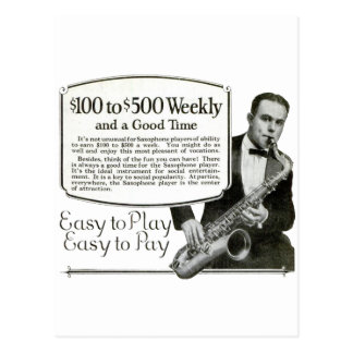 Saxophone Vintage Ad Postcard