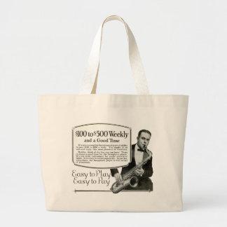 Saxophone Vintage Ad Jumbo Tote Bag