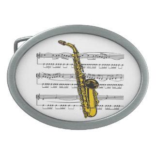 Saxophone w/Sheet Music Background ~ Belt Buckle