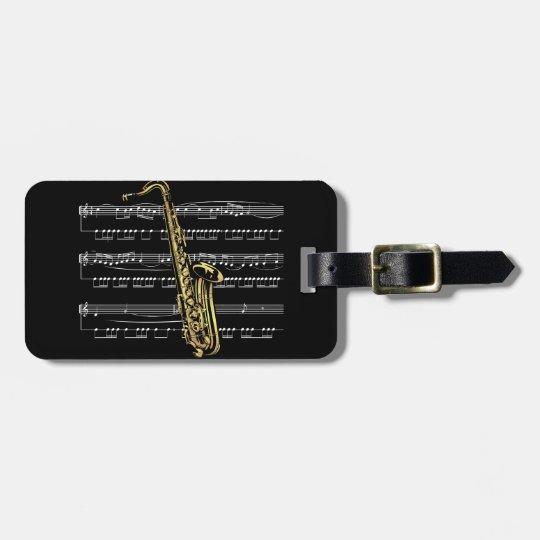Saxophone w/Sheet Music ~ Black Background Bag Tag