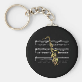 Saxophone w/Sheet Music ~ Black Background Basic Round Button Key Ring