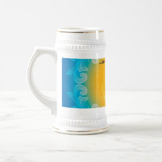 Saxophone with clef  in soft yellow, blue beer steins
