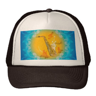 Saxophone with clef  in soft yellow, blue colors cap