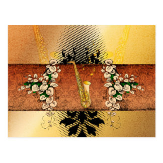 Saxophone with flowers and floral elements postcard