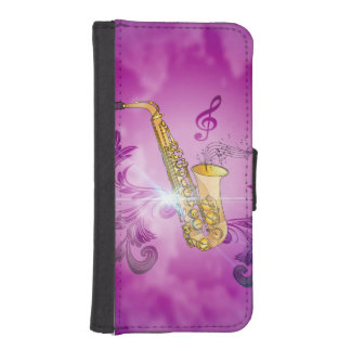 Saxophone with key notes and clef iPhone SE/5/5s wallet case