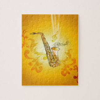 Saxophone with key notes and clef jigsaw puzzle