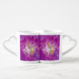 Saxophone with key notes and clef couples mug