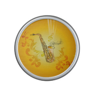 Saxophone with key notes and clef speaker