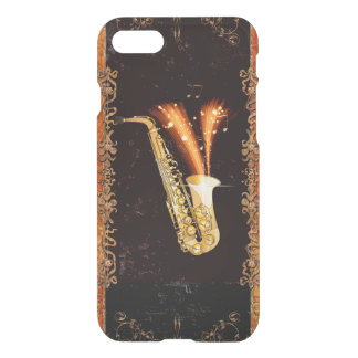 Saxophone with key notes and floral elements iPhone 7 case