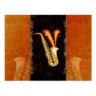 Saxophone with key notes and floral elements postcard