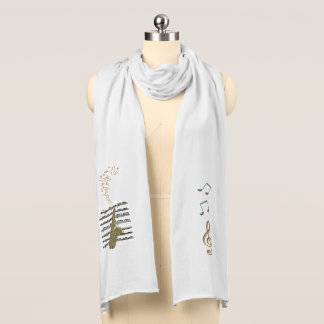 Saxophone with Music Clefs and Musical Notes Scarf