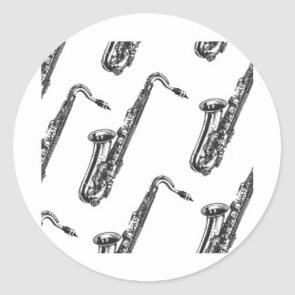 Saxophones Classic Round Sticker