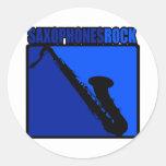 Saxophones Rock! Round Sticker