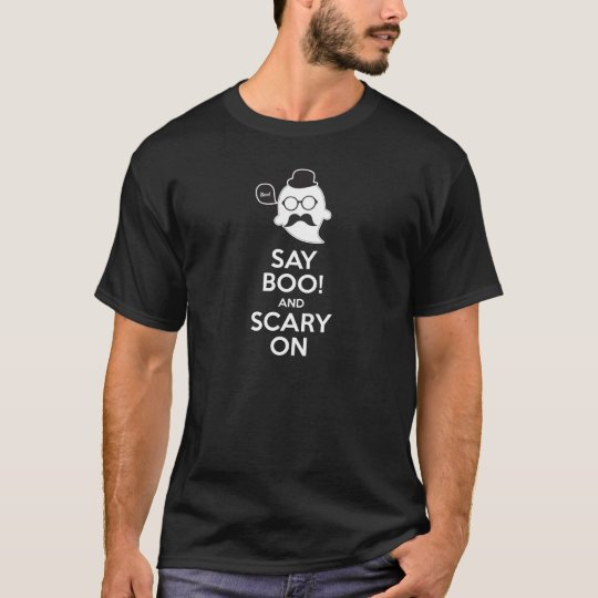 Say boo! and scary on Halloween t-shirt