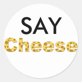 say cheese classic round sticker