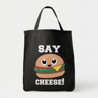 Say Cheese! Cute Slogan Burger Totes Bag