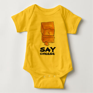 SAY CHEESE Yellow Cheddar Funny Foodie Gift Baby Bodysuit