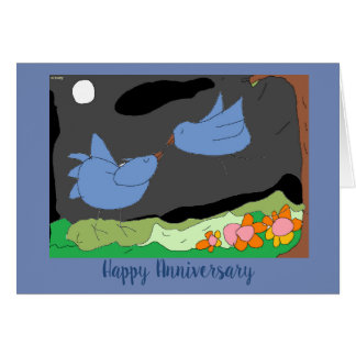 Say Happy Anniversary with Drawlings' love birds! Card