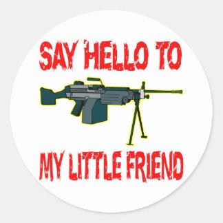 Say Hello To My Little Friend SAW Machine Gun Round Stickers