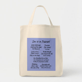 Say it in Yiddish Blue Tote Bag