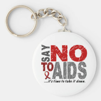 Say NO To AIDS 1 Basic Round Button Key Ring