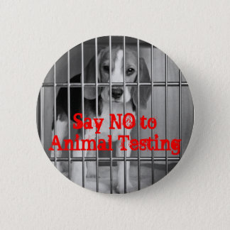 """Say No to Animal Testing"" Beagle button pin"