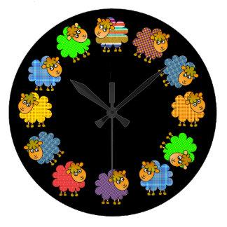 Say NO to Boring Sheep - a 'Garland of Sheep' Large Clock