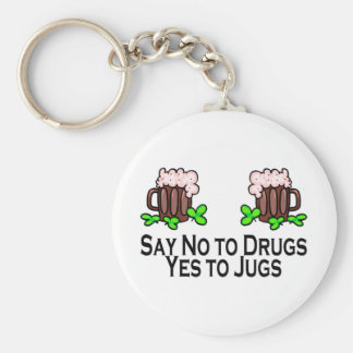 Say No To Drugs Yes To Beer Jugs Basic Round Button Key Ring
