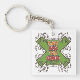 Say No to GMO Single-Sided Square Acrylic Key Ring