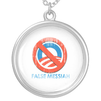 Say No To Obama 3 false messiah Faded.png Necklace
