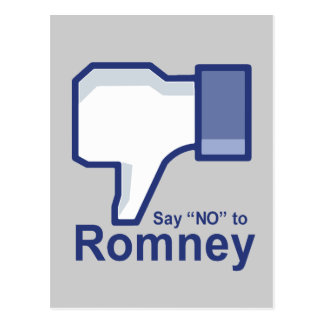 Say No to Romney Post Cards