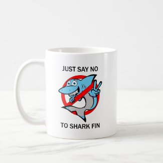 Say no to shark fin fun design mug