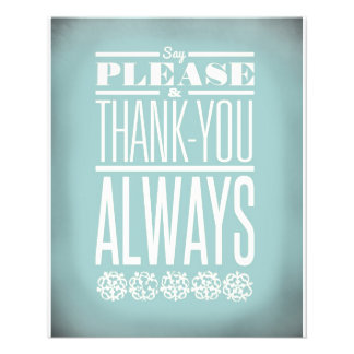 Say Please and Thank You Always 11.5 Cm X 14 Cm Flyer