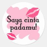 Saya cinta padamu - Indonesian I love you Round Stickers