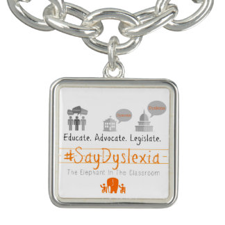 #SayDyslexia Square Charm, Silver Plated