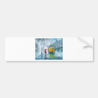 SAYING GOODBYE Tram oil painting rainy day Bumper Sticker