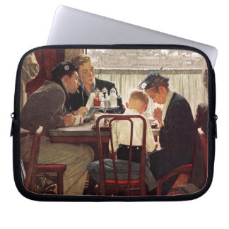 Saying Grace by Norman Rockwell Laptop Sleeve
