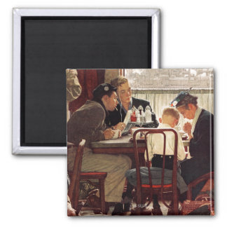 Saying Grace by Norman Rockwell Square Magnet