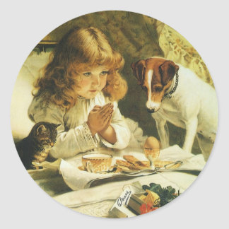 Saying Our Prayers, Suspense Charles Burton Barber Classic Round Sticker