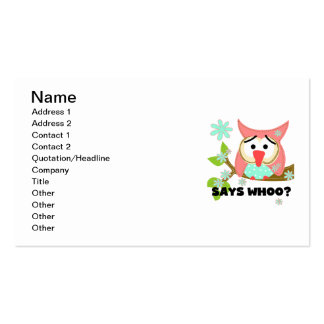 Says Whoo Owl Pack Of Standard Business Cards