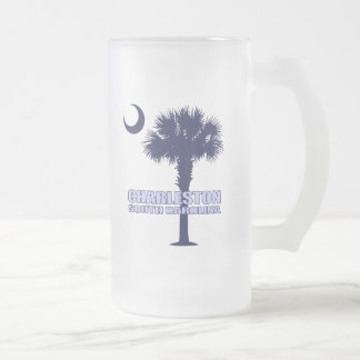 SC Palmetto & Crescent (Charleston) Frosted Glass Beer Mug