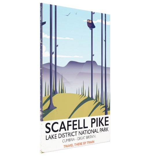 Scafell Pike, Cumbria, Vintage travel poster Canvas Print