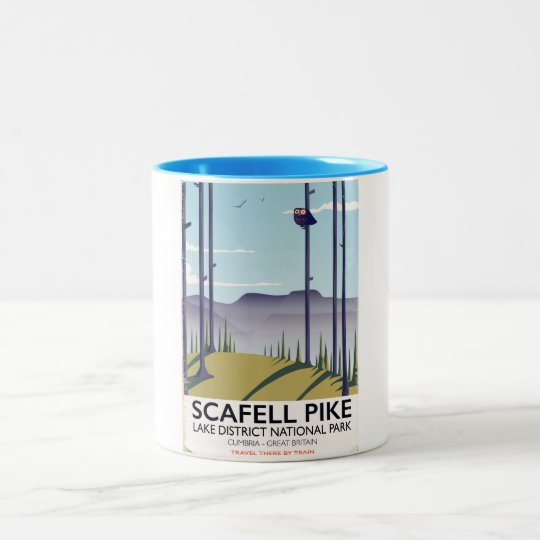 Scafell Pike, Cumbria, Vintage travel poster Two-Tone Coffee