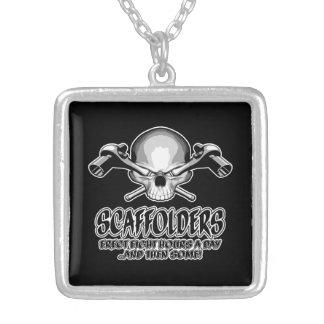 Scaffolder Skull: Scaffolding Humor Square Pendant Necklace