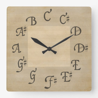 Scale of Music Notes, Antique Look Clock