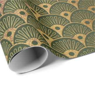Scales Mermaid Gold Green Cali Woodland Seashells Wrapping Paper